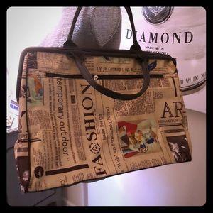 Handbags - Travel Shoulder Newsprint Bag